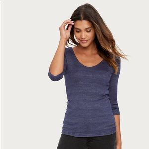 Michael Stars Dark Blue V Neck Elbow Sleeve